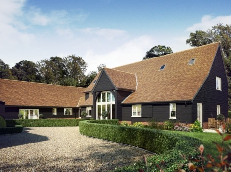 Three quarter angle 3D Architectural Visualisation of a daytime Cottage with large open Garden and Driveway